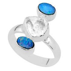 3 stone herkimer diamond doublet opal australian silver ring size 7 t49870