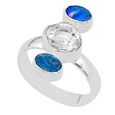 3 stone herkimer diamond doublet opal australian silver ring size 7.5 t49862