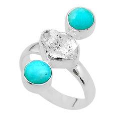 9.05cts 3 stone herkimer diamond peruvian amazonite silver ring size 7 t49863