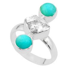 9.47cts 3 stone herkimer diamond peruvian amazonite silver ring size 7 t49865