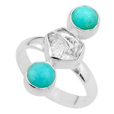 8.80cts 3 stone herkimer diamond peruvian amazonite silver ring size 8 t49861