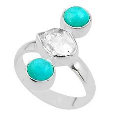 8.94cts 3 stone herkimer diamond peruvian amazonite silver ring size 8 t49873