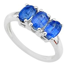 2.89cts 3 stone natural blue kyanite 925 sterling silver ring size 6 t14788