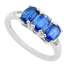 2.73cts 3 stone natural blue kyanite 925 sterling silver ring size 7 t14786