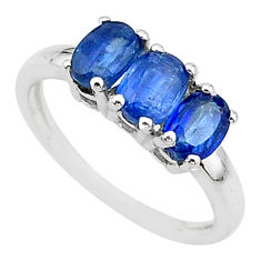 2.73cts 3 stone natural blue kyanite 925 sterling silver ring size 7 t14789