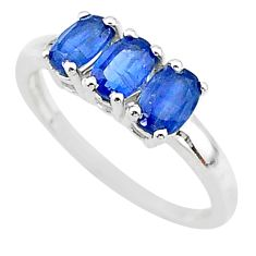 2.73cts 3 stone natural blue kyanite 925 sterling silver ring size 8 t14781