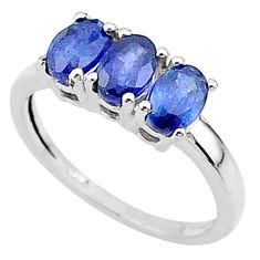 3.01cts 3 stone natural blue sapphire 925 sterling silver ring size 7 t18265