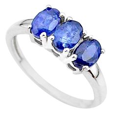 2.95cts 3 stone natural blue sapphire 925 sterling silver ring size 7 t18269