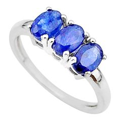 2.95cts 3 stone natural blue sapphire 925 sterling silver ring size 7 t18271