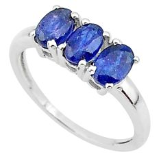 2.96cts 3 stone natural blue sapphire 925 sterling silver ring size 7 t18277