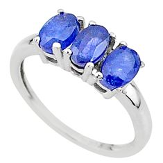 2.88cts 3 stone natural blue sapphire 925 sterling silver ring size 7 t18280