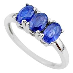 3.03cts 3 stone natural blue sapphire 925 sterling silver ring size 8 t18261