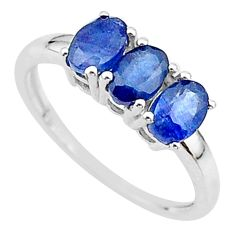 2.95cts 3 stone natural blue sapphire 925 sterling silver ring size 8 t18263