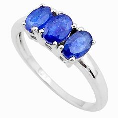 2.81cts 3 stone natural blue sapphire 925 sterling silver ring size 8 t40873