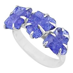 8.12cts 3 stone natural blue tanzanite raw 925 silver ring size 8 t7102