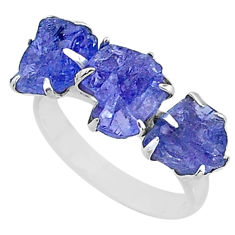 9.86cts 3 stone natural blue tanzanite raw 925 silver ring size 8 t7103