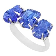 9.86cts 3 stone natural blue tanzanite raw 925 silver ring size 8 t7106