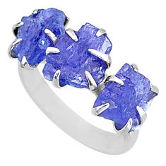 8.87cts 3 stone natural blue tanzanite raw fancy silver ring size 7 t7104