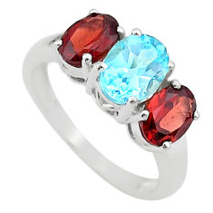 6.85cts 3 stone natural blue topaz garnet 925 silver ring jewelry size 8 t43251