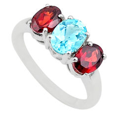 6.15cts 3 stone natural blue topaz garnet 925 silver ring jewelry size 9 t43234