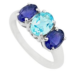 6.99cts 3 stone natural blue topaz iolite 925 silver ring jewelry size 7 t43249