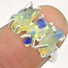 8.00cts 3 stone natural ethiopian opal raw fancy 925 silver ring size 7 t51482