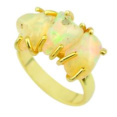 8.51cts 3 stone natural ethiopian opal raw silver 14k gold ring size 7 t51211
