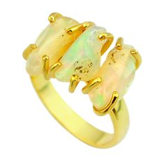 9.86cts 3 stone natural ethiopian opal raw silver 14k gold ring size 7 t51218