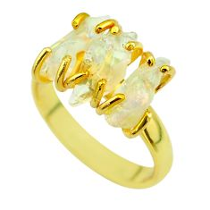 8.84cts 3 stone natural ethiopian opal raw silver 14k gold ring size 8 t51210