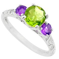 3.14cts 3 stone natural green peridot amethyst 925 silver ring size 7 t40966