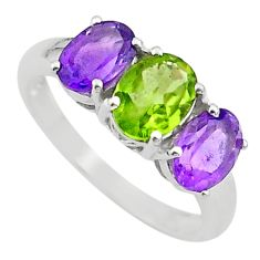 6.19cts 3 stone natural green peridot amethyst 925 silver ring size 8 t43241