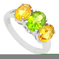 5.92cts 3 stone natural green peridot citrine 925 silver ring size 7 t43259
