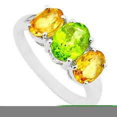 5.92cts 3 stone natural green peridot citrine 925 silver ring size 8 t43237
