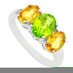 5.54cts 3 stone natural green peridot yellow citrine silver ring size 6 t43238