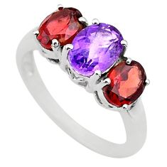 5.81cts 3 stone natural purple amethyst red garnet silver ring size 6 t43223