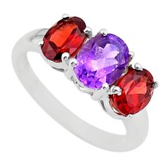 6.61cts 3 stone natural purple amethyst red garnet silver ring size 8 t43244