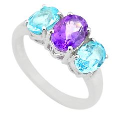 6.15cts 3 stone natural purple amethyst topaz 925 silver ring size 7 t43256