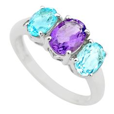 5.54cts 3 stone natural purple amethyst topaz 925 silver ring size 9 t43226