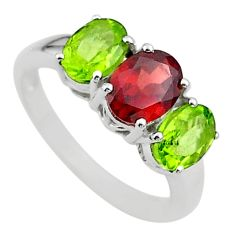 6.61cts 3 stone natural red garnet green peridot 925 silver ring size 8 t43258