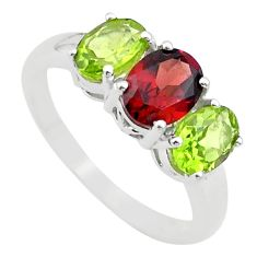 6.61cts 3 stone natural red garnet green peridot 925 silver ring size 9 t43231