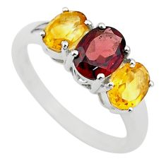 5.54cts 3 stone natural red garnet yellow citrine 925 silver ring size 6 t43229
