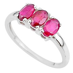 2.74cts 3 stone natural red ruby 925 sterling silver ring size 8 t18247