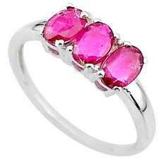 2.74cts 3 stone natural red ruby 925 sterling silver ring size 8 t18250