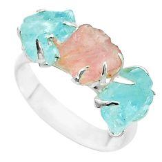 3 stone natural rose quartz aquamarine raw 925 silver ring size 7 t52282