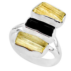 12.58cts 3 stone natural tourmaline raw scapolite silver ring size 8 t37818