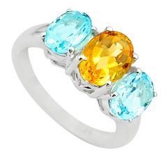 5.46cts 3 stone natural yellow citrine topaz 925 silver ring size 6 t43240