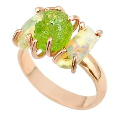 3 stone peridot ethiopian opal raw 925 silver 14k gold ring size 7 t51224