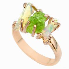3 stone peridot ethiopian opal raw 925 silver 14k gold ring size 8 t51232