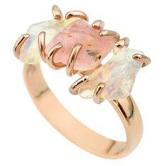 3 stone rose quartz ethiopian opal raw 925 silver 14k gold ring size 8 t51233