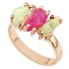 3 stone ruby ethiopian opal raw 925 silver 14k gold ring size 9 t51227
